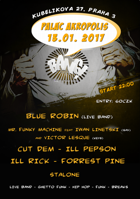 AKROPOLIS: BANG DJS BLUE ROBIN (LIVE BAND), CUT DEM, MR. FUNKY MACHINE FEAT IWAN LINETSKI (SAX) AND VICTOR LESQUE (KEYS)